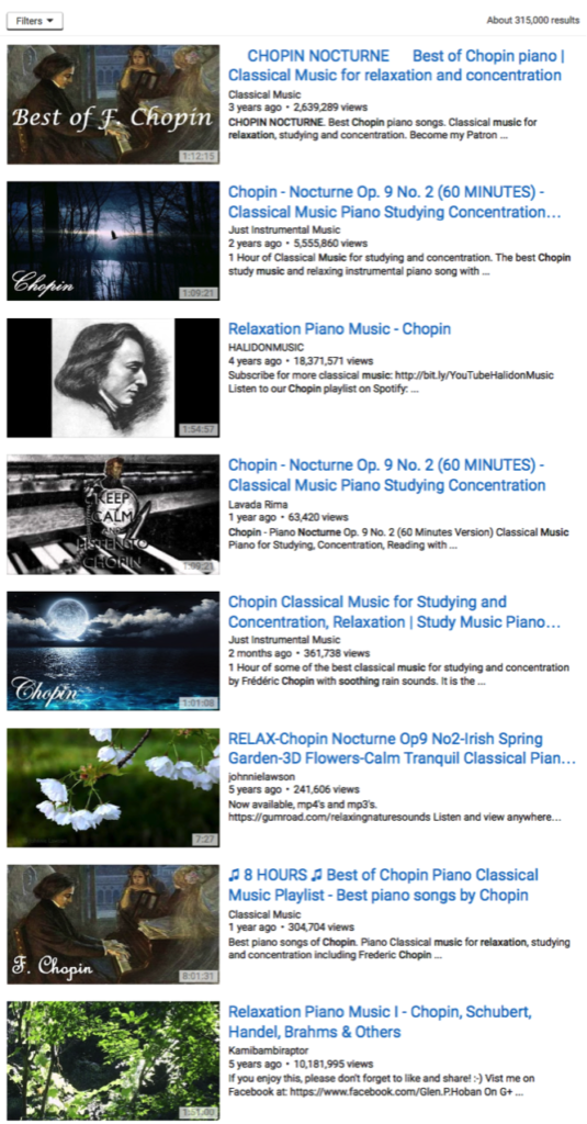 "Screenshot from YouTube search for Chopin's ""Nocturne."" (Internet)"