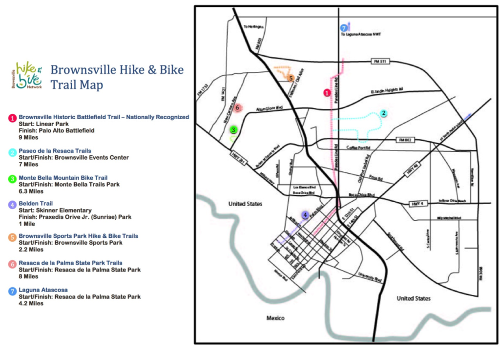 A map of the bike trails in Brownsville laid over a map of the important streets in the city